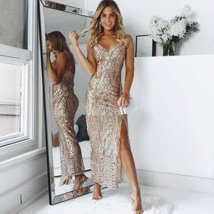 Be My Lover Dress In Rose Gold Sequin - ShowPO
